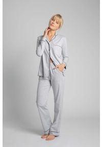 MOE - Długie Spodnie Piżamowe z Lamówkami - Popielate. Kolor: szary. Materiał: bawełna. Długość: długie
