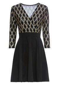 Czarna sukienka bonprix elegancka, z dekoltem w serek