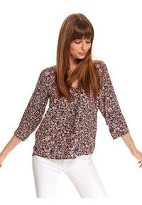 Różowa bluzka DRYWASH na jesień, w kolorowe wzory, z dekoltem w kształcie v