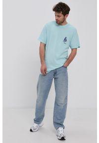 Vans - T-shirt bawełniany. Okazja: na co dzień. Kolor: niebieski. Materiał: bawełna. Wzór: nadruk. Styl: casual
