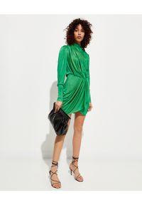 ISABEL MARANT - Zielona sukienka z drapowaniem Dibruna. Kolor: zielony. Materiał: materiał. Typ sukienki: kopertowe. Długość: mini