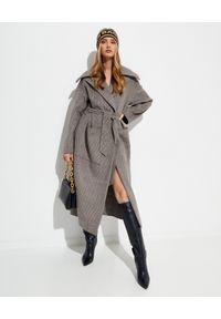 NANUSHKA - Wełniany płaszcz w pepitkę Soa. Kolor: szary. Materiał: wełna. Styl: klasyczny
