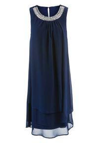 Niebieska sukienka bonprix elegancka, z aplikacjami