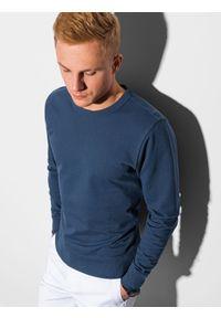 Ombre Clothing - Bluza męska bez kaptura B1153 - ciemnoniebieska - XXL. Typ kołnierza: bez kaptura. Kolor: niebieski. Materiał: bawełna, jeans, poliester. Styl: klasyczny, elegancki