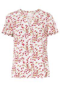 Biała bluzka bonprix krótka, z krótkim rękawem, z nadrukiem