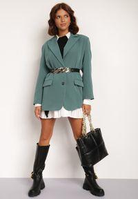 Renee - Zielona Marynarka Alemeina. Okazja: na spotkanie biznesowe. Kolor: zielony. Styl: wizytowy, biznesowy