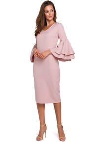 MAKEOVER - Wizytowo-Koktajlowa Sukienka w Różowym Kolorze. Kolor: różowy. Materiał: poliester, elastan. Styl: wizytowy