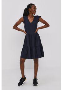 only - Only - Sukienka. Kolor: niebieski. Materiał: dzianina, bawełna. Wzór: gładki. Typ sukienki: rozkloszowane