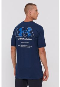 Under Armour - T-shirt. Kolor: niebieski. Materiał: dzianina. Wzór: nadruk