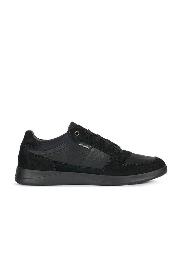 Czarne sneakersy Geox z okrągłym noskiem, z cholewką