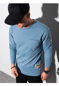 Ombre Clothing - Bluza męska bez kaptura B1149 - błękitna - XXL. Typ kołnierza: bez kaptura. Kolor: niebieski. Materiał: poliester, jeans, materiał, bawełna. Wzór: melanż