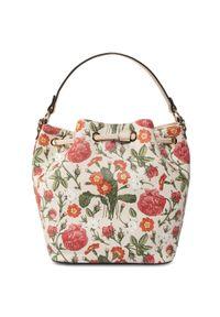 Beżowa torebka worek Nobo klasyczna, w kolorowe wzory