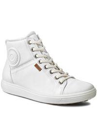 Białe sneakersy ecco na średnim obcasie, na obcasie, z cholewką