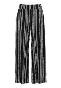 Cellbes Spodnie w paski z gniecionego dżerseju Czarny w paski female czarny/ze wzorem 46/48. Kolor: czarny. Materiał: jersey. Wzór: paski