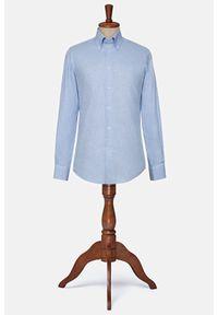 Lancerto - Koszula Błękitna El Paso. Okazja: na co dzień. Typ kołnierza: button down. Kolor: niebieski. Materiał: bawełna, tkanina. Wzór: ze splotem. Styl: vintage, casual