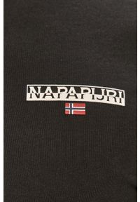 Czarna koszulka z długim rękawem Napapijri casualowa, z nadrukiem, na co dzień