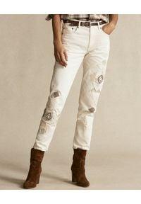 Ralph Lauren - RALPH LAUREN - Beżowe spodnie z aplikacją. Kolor: beżowy. Materiał: bawełna. Wzór: aplikacja #1