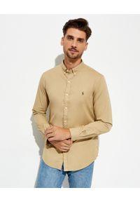 Ralph Lauren - RALPH LAUREN - Beżowa koszula Slim Fit. Typ kołnierza: button down, polo. Kolor: beżowy. Materiał: bawełna. Długość rękawa: długi rękaw. Długość: długie. Wzór: haft