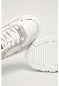 Białe buty sportowe Trussardi Jeans z cholewką, na sznurówki