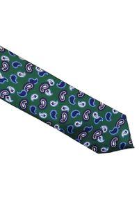 Rietti - Zielony krawat jedwabny - niebieski paisley R34. Kolor: niebieski, zielony, wielokolorowy. Materiał: jedwab. Wzór: paisley