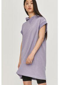 Fioletowa bluza Answear Lab z kapturem, z krótkim rękawem