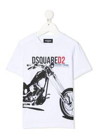 DSQUARED2 KIDS - Biała koszula z nadrukiem 4-12 lat. Kolor: biały. Materiał: bawełna. Wzór: nadruk. Sezon: lato. Styl: klasyczny
