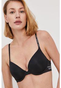 Czarny biustonosz Calvin Klein Underwear z fiszbinami, z nadrukiem