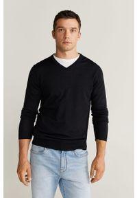 Niebieski sweter Mango Man na co dzień, z długim rękawem, casualowy, długi