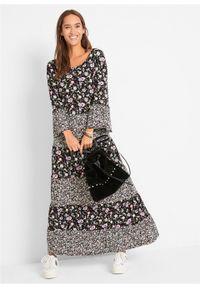Czarna sukienka bonprix w kwiaty, maxi