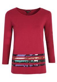 TOP SECRET - T-shirt z długim rękawem z cekinami. Okazja: do pracy. Kolor: czerwony. Materiał: materiał. Długość rękawa: długi rękaw. Długość: długie. Wzór: paski. Sezon: zima