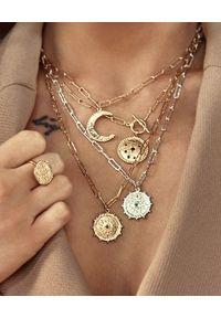 MOKOBELLE - Naszyjnik z rozetą Solaris. Materiał: srebrne, pozłacane, złote. Kolor: złoty. Wzór: aplikacja. Kamień szlachetny: spinel