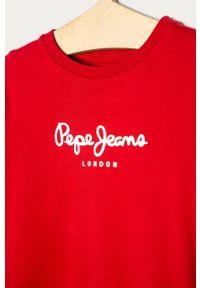 Czerwona bluza Pepe Jeans z nadrukiem, bez kaptura, na co dzień, casualowa