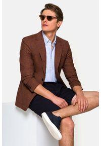 Lancerto - Marynarka Ceglasta w Kratę Medina. Typ kołnierza: golf. Kolor: czerwony. Materiał: jeans, wiskoza, len, wełna, tkanina, poliester. Wzór: melanż, ze splotem, kolorowy. Sezon: lato, wiosna