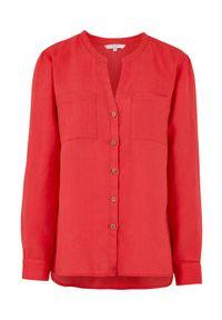 Cellbes Lniana koszula z drewnianymi guzikami czerwony female czerwony 62/64. Typ kołnierza: dekolt w serek, kołnierzyk stójkowy. Kolor: czerwony. Materiał: len. Długość rękawa: długi rękaw. Długość: długie. Styl: elegancki
