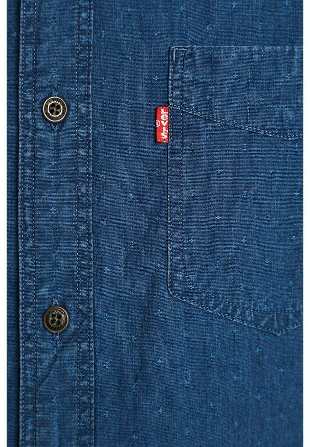 Niebieska koszula Levi's® na co dzień, w kolorowe wzory, z klasycznym kołnierzykiem, długa