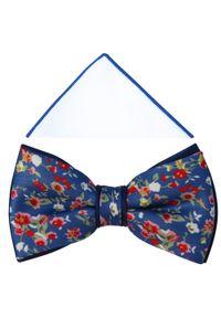 Adam Collection - Niebieska mucha w kwiaty A332. Kolor: niebieski. Materiał: tkanina, poliester. Wzór: kwiaty. Styl: elegancki