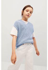 Niebieski sweter Mango Kids casualowy, na co dzień, gładki
