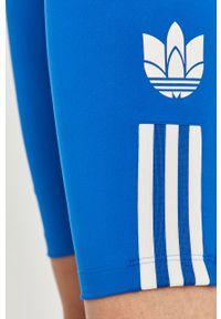 Niebieskie szorty adidas Originals sportowe, z nadrukiem, z podwyższonym stanem
