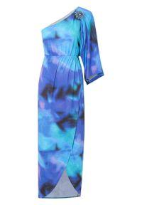 Sukienka one-shoulder z nadrukiem bonprix turkusowy z nadrukiem. Kolor: niebieski. Wzór: nadruk. Typ sukienki: asymetryczne. Długość: maxi