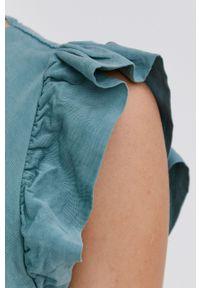 Answear Lab - Sukienka. Kolor: turkusowy. Materiał: materiał. Typ sukienki: rozkloszowane. Styl: wakacyjny