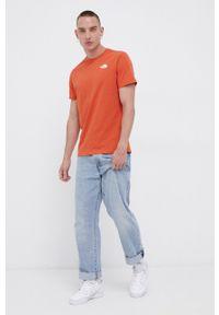 The North Face - T-shirt bawełniany. Okazja: na co dzień. Kolor: pomarańczowy. Materiał: bawełna. Wzór: nadruk. Styl: casual