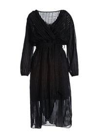 Born2be - Czarna Sukienka Chrysta. Okazja: na co dzień. Kolor: czarny. Materiał: tkanina, materiał. Długość rękawa: długi rękaw. Typ sukienki: kopertowe. Styl: casual