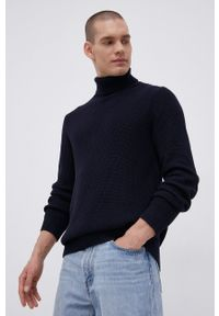Premium by Jack&Jones - Sweter bawełniany. Typ kołnierza: golf. Kolor: niebieski. Materiał: bawełna. Długość rękawa: długi rękaw. Długość: długie