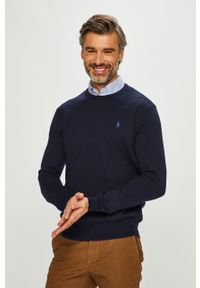 Niebieski sweter Polo Ralph Lauren z okrągłym kołnierzem