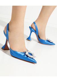 AMINA MUADDI - Błękitne sandały na szpilce Begum Sling. Zapięcie: pasek. Kolor: niebieski. Materiał: jedwab, satyna. Obcas: na szpilce. Wysokość obcasa: średni