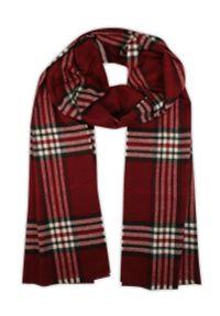 Czerwony szalik V. Fraas w kratkę, elegancki, na lato