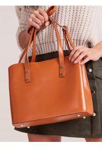 ROVICKY - Włoska skórzana torebka shopper bag camel Rovicky TWR-61. Materiał: skórzane