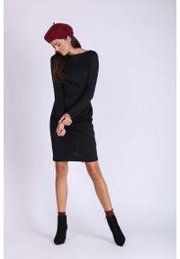 Nommo - Czarna Sukienka o Tradycyjnym Ołówkowym Kroju. Kolor: czarny. Materiał: wiskoza, poliester. Typ sukienki: ołówkowe