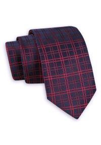 Granatowy Elegancki Krawat -Angelo di Monti- 6 cm, Męski, w Czerwoną Kartkę. Kolor: niebieski, czerwony, wielokolorowy. Styl: elegancki