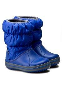 Niebieskie buty zimowe Crocs bez zapięcia, na spacer
